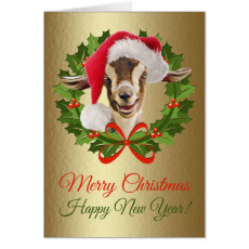 Merry Christmas Baby Toggenburg Goat Kid Painting Card