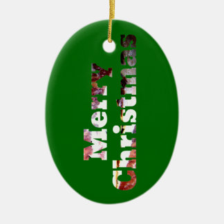 Merry Christmas Bacon Print Ceramic Ornament