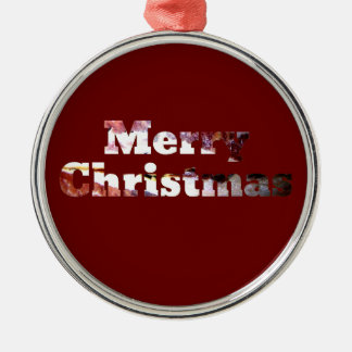 Merry Christmas Bacon Print Metal Ornament