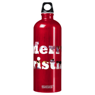 Merry Christmas Bacon Print Water Bottle