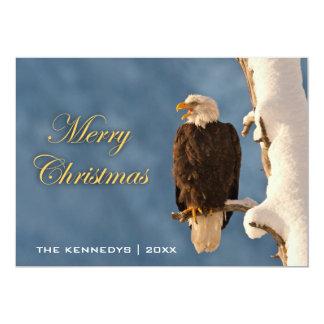 Merry Christmas - Bald eagle perched on - Alaska 5x7 Paper Invitation Card