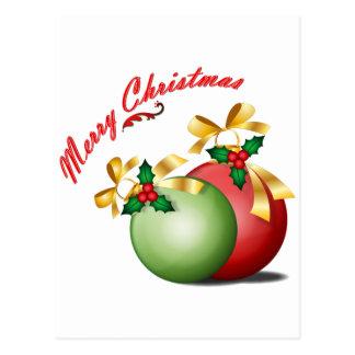 Merry Christmas Balls Postcard