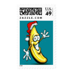 Merry Christmas Banana Happy New Year Postage Stamp