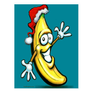 Merry Christmas Banana Happy New Year Postcard