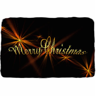 Merry Christmas Banner on Black - Holiday Statuette