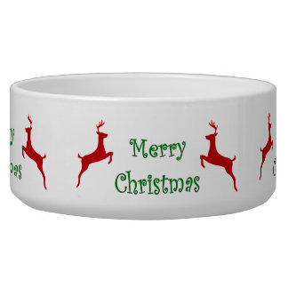 Merry Christmas Banner Red Reindeer Bowl