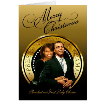 USA Themed Merry Christmas Barack and Michelle Obama Card