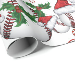 Merry Christmas Baseball Santa Wrapping Paper