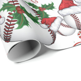 Merry Christmas Baseball  Santa Wrapping Paper