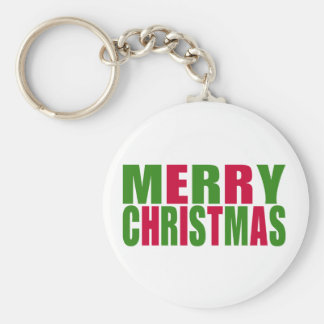 Merry Christmas Basic Round Button Keychain