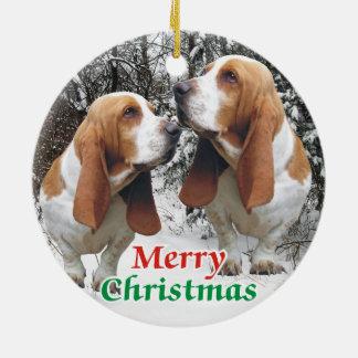 Merry Christmas Basset Hounds Ceramic Ornament