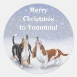 Merry Christmas Basset Hounds Round Sticker