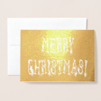Merry Christmas Bauble and Stars Font Gold, ZAtoZ Foil Card