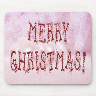 Merry Christmas Bauble and Stars Font Mouse Pad