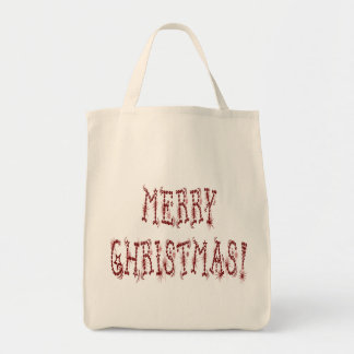 Merry Christmas Bauble and Stars Font Tote Bags