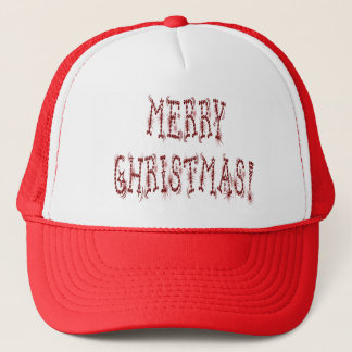 Merry Christmas Bauble and Stars Font Trucker Hat