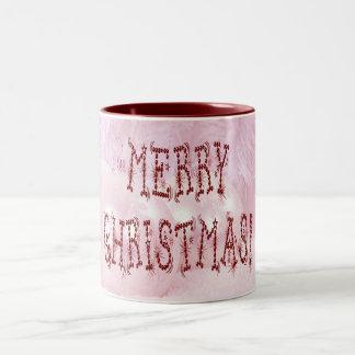 Merry Christmas Bauble and Stars Font Two-Tone Coffee Mug