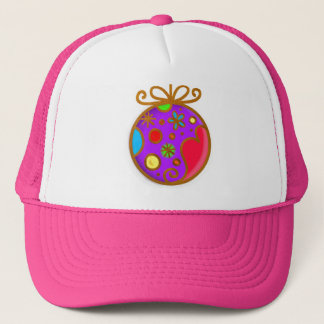 Merry Christmas Bauble Colorful Pink Trucker Hat