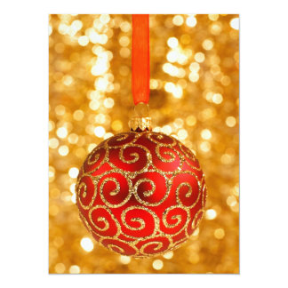 Merry Christmas Bauble on Gold Card