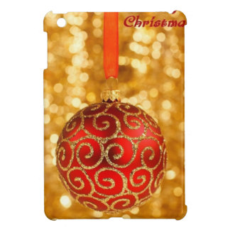 Merry Christmas Bauble on Gold iPad Mini Cases