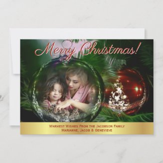 Merry Christmas Bauble Ornament Photo Frame Holiday Card