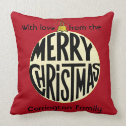 Merry Christmas Bauble Personal Gift Throw Pillow