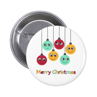 Merry Christmas Baubles Button