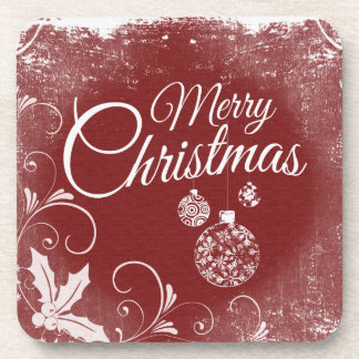 Merry Christmas Baubles Chalkboard Art Drink Coaster