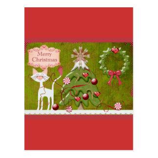Merry Christmas Baubles Postcard