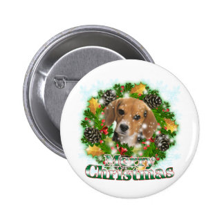 Merry Christmas Beagle 2 Inch Round Button