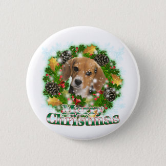 Merry Christmas Beagle Button