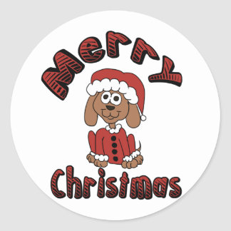 Merry Christmas Beagle Classic Round Sticker