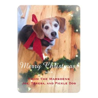Merry Christmas Beagle Customizable Flat Card