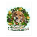 Merry Christmas Beagle Postcard