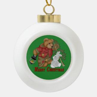 Merry Christmas Bear & Bunny Ball Ornament