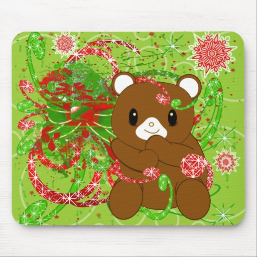 Merry Christmas Bear Grunged Mouse Pad