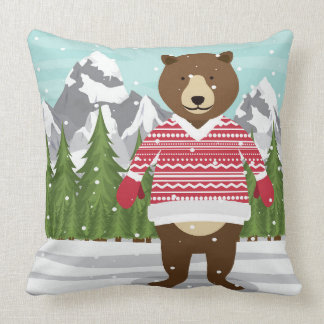 Merry Christmas Bear In A Sweater Throw Pillow