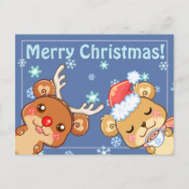 Merry Christmas Bears Postcard