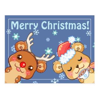 Merry Christmas Bears Postcard