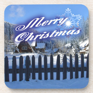 Merry Christmas - Beautiful Log Cabin in the Snow Beverage Coaster