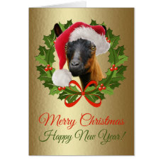 Merry Christmas Beautiful Oberhasli Goat Art Card