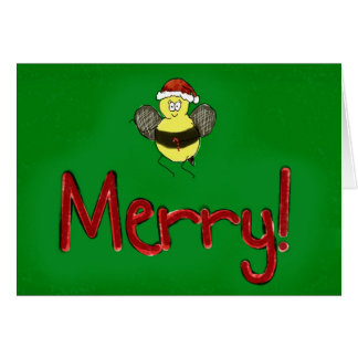 Merry Christmas Bee Merry Paper Greeting Card