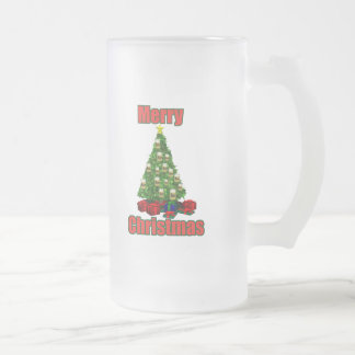 Merry christmas beer tree frosted glass beer mug