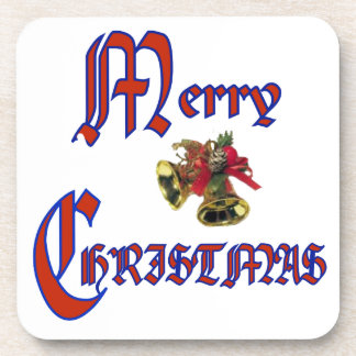 "Merry Christmas bell Cork Coaster (6) 3.8x3.8"""