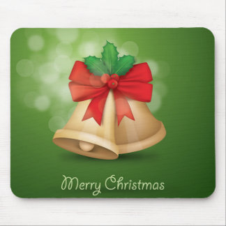 Merry Christmas  Bell Green Mousepad