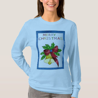 Merry Christmas Bell in Stained Glass T-Shirt