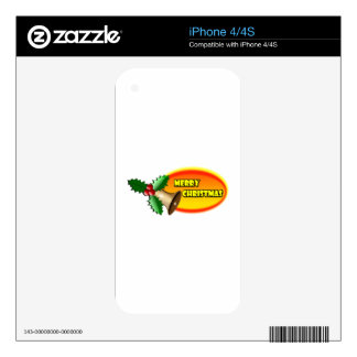 Merry Christmas Bell iPhone 4S Decal