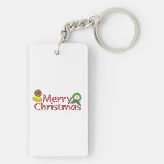 Merry Christmas Bell Lantern Wreath Candle Buttons Double-Sided Rectangular Acrylic Keychain