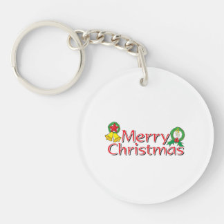 Merry Christmas Bell Lantern Wreath Candle Buttons Double-Sided Round Acrylic Keychain