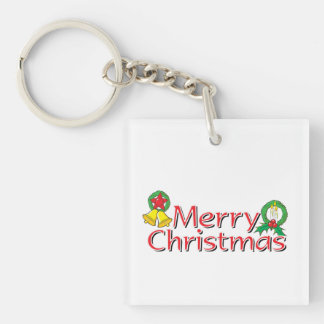 Merry Christmas Bell Lantern Wreath Candle Buttons Double-Sided Square Acrylic Keychain